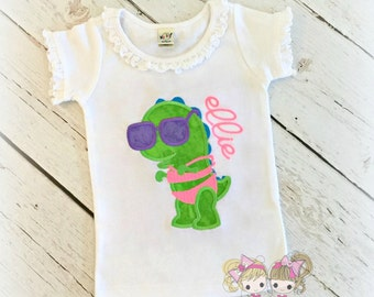 Beach Dinosaur Shirt- Summer- Dino in swimsuit- Custom embroidery