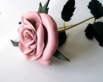 Dust Pink Leather Rose, Wedding ,3rd Anniversary Gift, Long Stemrose, Valentines Day