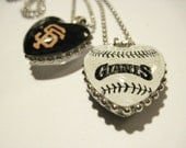 Sf Giants Pendant Necklace, Sf Giants, HEART, Custom Sport, San Francisco, glass Gem, Giants Fan