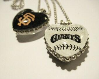 Sf Giants Pendant Necklace, Sf Giants, HEART, Custom Sport, San Francisco, glass Gem, Giants Fan