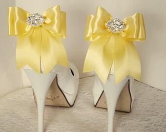 Wedding Shoe Clips,Bridal Shoe Clips, Rhinestone Shoe Clips,Bright Yellow,MANY COLORS, Bow Shoe Clips, Clips for Wedding Shoes, Bridal Shoes