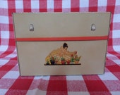 Vintage Recipe Box -- Cream and Red -- 1930's -- Decal Lady With Flower Pots