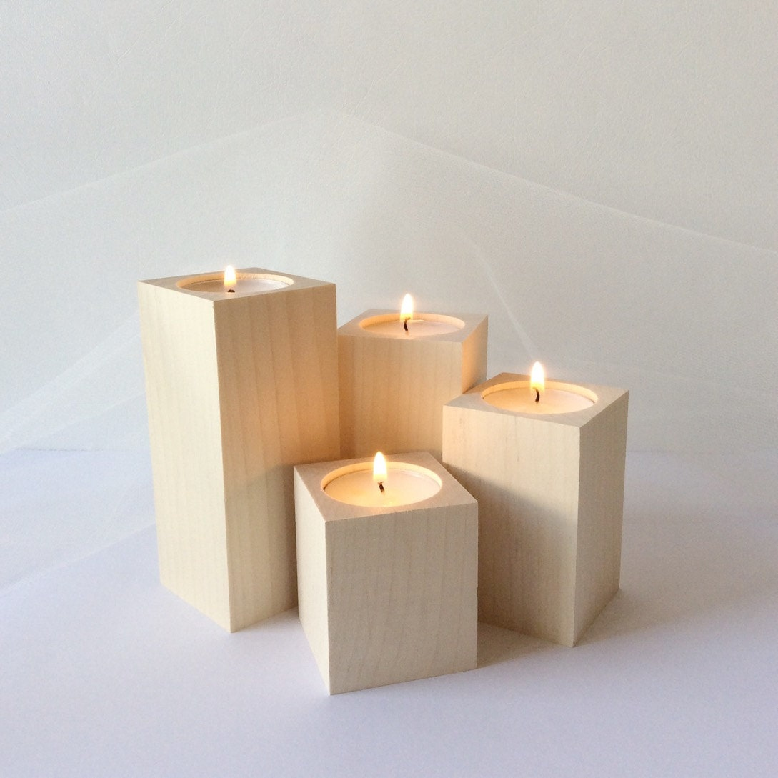 Wooden Tea Light Holder Set Of 4 Wooden Centerpieces Home