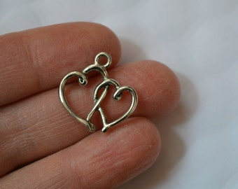 3 Pewter Double Heart Charms/Pendants. Double Heart Charm. Double Heart Pendant. Heart Metal Charm. Pewter Charm. 20mm x 20mm