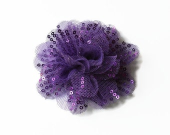 "Sequin and Tulle Flowers. 3.5"" PURPLE Sequin Flowers. QTY: 1 Flower.  ~~ Noelly Collection."