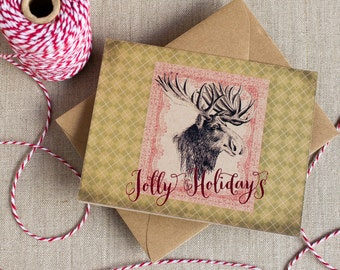 Rustic Moose Christmas Greeting Card - Jolly Holidays - single - A2 - kraft envelope - Woodland Christmas - Argyle Moose