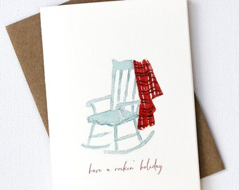Rockin' Holiday  Christmas Note Cards- Set of 5- Rocking Chair Blanket Aqua Blue Red
