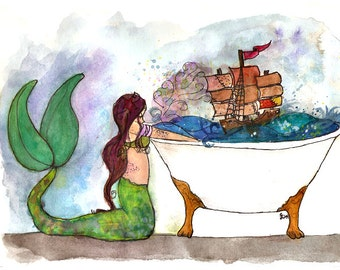 Mermaid Decor, vanity decor, Mermaid print, Ocean Art, Nautical mermaid, Kitchen Print, Nautical bathroom Decor, Pirate ship, Kids Art