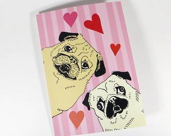 Pug dog card - pug love card - pug greeting card - funny pug card - cute pug card - romantic pug card - blank inside