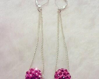 Pink drop down earrings