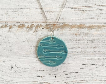 Ceramic Arrow Pendant, Caribbean Blue, Unique Gift, Arrows, Gift for Her, Courage, Ceramics, Arrow Jewelry, Ceramic Jewelry