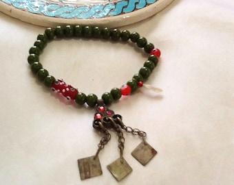 Tribal KUCHI gypsy bracelet with dangles , bohemian gypsy  bracelet , handmade nomad  bracelet , ethnic indie bracelet