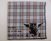 Hankie- YODA shown on super soft GREY/AQUA plaid cotton Hanky-or choose from white or any solid colors or plaids shown in pics