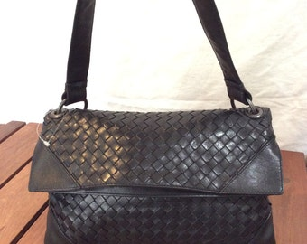 Vintage Authentic Bottega Veneta Black Woven Leather Satchel Shoulder Bag Made in Italy