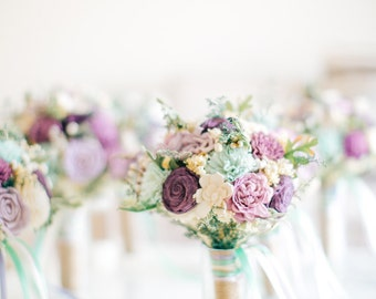 Alternative Bridesmaid Bouquet - Bridal Bouquet, Dusty Miller, Purple Wedding, Sola Flowers, Keepsake Bouquet, Sola Bouquet, Rustic Wedding
