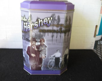 """Collectible Milton S. Hershey """"Building a Legacy"""" Chocolate Advertising Tin"""