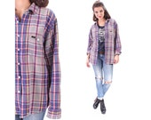 DISTRESSED Flannel Shirt 90s Plaid Grunge LEE Jacket Button Up Gey Blue Retro Thick Lumberjack Vintage Oversize Checkered Pocket Large XL