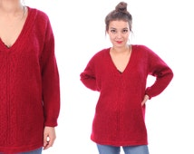 RED MOHAIR Sweater 80s Fuzzy Vintage Ribbed Knit Soft Wool Jumper Deep V Neck Soft Pullover Winter Women Gift Size Large