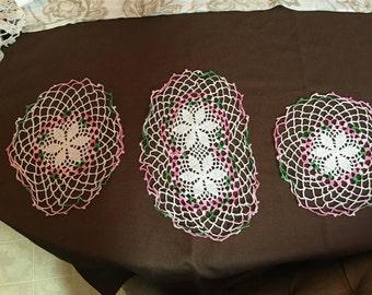 Set of Three Vintage Handmade Crochet Lace Doily Set Chairset Home Decor