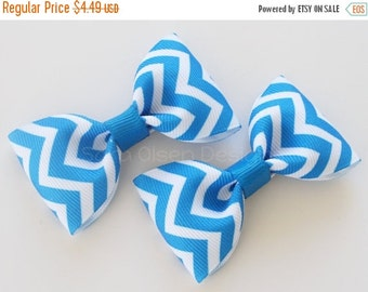 40% OFF Chevron Hair Clips, Set of 2 Hair Clips, Simple Bow Tie Tuxedo Hairbows, Toddler Pigtails, 2 1/2 inch Bow, 2.5, Blue White, Christma