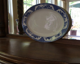Oval Blue and White Chinese Motif Platter