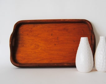 vintage wood tray - with handles