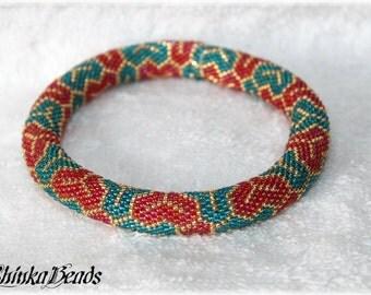 Teal, golden and red rainbow bead crocheted bracelet Kimono - seed bead bangle - geometric pattern