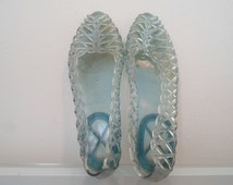 90s Clear Jelly Sandals Light Sky Blue Jelly shoes flats