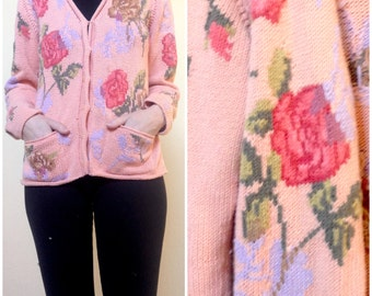 Pretty in Pink Floral Cardigan Sweater
