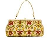 Vintage White Carpet Bag Purse // Large 1960's Floral Needlepoint Tapestry Handbag // Vegan Mid-Century Yellow, Red, & Green Floral Bag