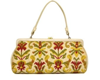 Vintage White Carpet Bag Purse // 1960's Floral Needlepoint Tapestry Handbag // Mid-Century Yellow, Red, & Green Floral Bag