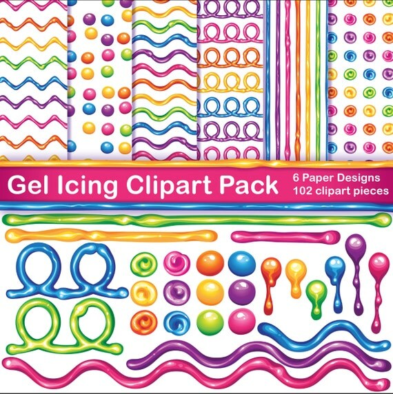Cake Decorating Gel Icing Bright Rainbow Colors scrapbook elements and digital download 12x12 paper designs