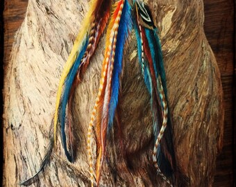 SET of 3 Long Feather Hair Extensions//Hair Feather Extensions//Feather Hair Clip//Hair Feathers//Boho Hippie//Party Favours