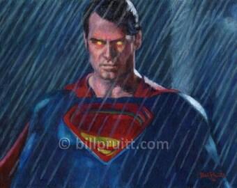 Superman vs Batman Man of Steel art print 12x16 signed and dated Bill Pruitt