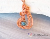 Copper Wire Wrapped Pendant With Blue Glass Bead, Wire Woven Necklace, Boho Jewelry