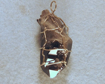 Smoky Quartz Arkansas Penetrator Crystal Wire Wrapped Pendant
