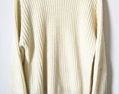 Cream Cable Knit Jumper Sweater Punk Mod Psych Goth Acrylic Cruelty Free