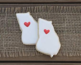 Georgia Wedding Favors / Georgia Sugar Cookies / Cookie Wedding Favors / Edible Wedding Favors / Georgia State Sugar Cookies - 12 cookies