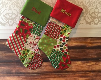 Large Patchwork Christmas Stocking