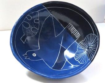 "In Stock! SGRAFFITO Bowl 6"", Soaring BIRD - LEAFY Design, Fine Art Stoneware Pottery, Small Functional Ceramic Art Cereal Soup Ice Cream!"