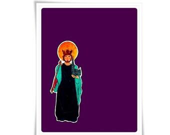 Saint St. Edward the Confessor Art Modern Contemporary Catholic Painting Holy Card Religious Meditation Decor Confirmation Gift