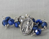 Blue Car Rosary Guardian Angel St. Christopher One Decade Rosary Rearview Rear View Mirror Car Rosary Czech Glass Beads (BSGASC-22115)