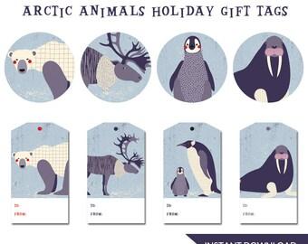 Arctic Animals Christmas Gift Tags