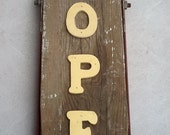 Vintage wood playground swingset seat open closed sign