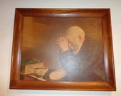 "Vintage Portrait Print of The Artist's Eric Enstrom's portrayal of Charles Widen praying before his humble meal titled ""Grace"""