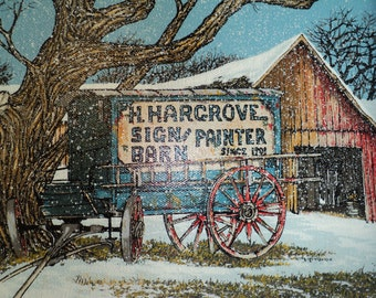 Vintage  H Hargrove Signed Serigraph Print, A Midwestern Landscape Scene with a Red Wood Barn and a blue wagon with a Hargrove Advertisement
