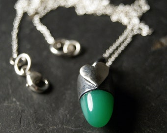 Green Chrysoprase Bullet and Heart Necklace in Sterling Silver