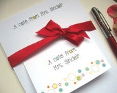 """Personalized Teacher Stationery Gift Set- Bokeh - Circles and Dots - Notepad 5.5 x 8.5"""",   Note Cards  set of 8"""