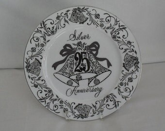 Anniversary Plate 25th Anniversary Silver Serving Plate Norcrest Fine China B762 Vintage Gift