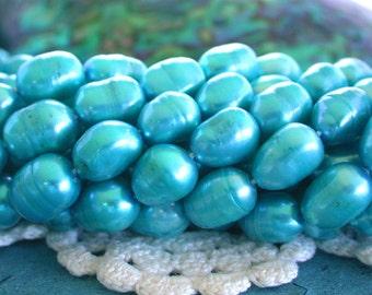 Sale, Closeout, Destash Beads, Aqua Fresh Water Pearls, Blue Pearl Beads, Rice Shape Fresh Water Pearls, Sale Destash Supplies  DS-FWP-042